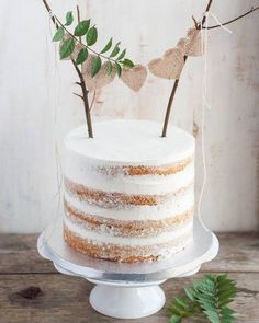 Rustic cake topper wedding cakes cakes elegant cakes rustic cakes simple cakes unique cakes with flowers Cakes To Make, How To Make Cake, Pretty Cakes, Beautiful Cakes, Nake Cake, Bolos Naked Cake, Gateau Baby Shower, Rustic Cake Toppers, Diy Cake Topper