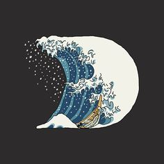 The Great Wave off Kanagawa is a painting by famous Japanese painter Katsuhiko Hokusai. Aditya Tri created an illustrative typeface inspired by the painting Great Wave Off Kanagawa, Traditional Artwork, Famous Artwork, Graphic Design Print, Art Institute Of Chicago, Graphic Illustration, Illustrations, Logo Inspiration, Japanese Art