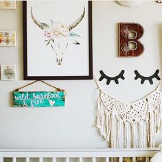 Well would you look at how sweet this #macrame garland looks in @jaccvilla nursery?  Just love how it looks on her gallery wall above the crib.