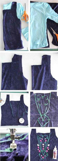 das Oberteil vom Annas Kleid mit Band und Strassteinen dekorieren