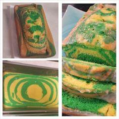 Glazed, green and Yellow lemon pudding zebra cake. (Rick & Morty party. Portal cake)
