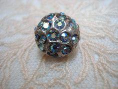 Lovely Rhinestone Metal Button     Iridescent  Crystal  Stones