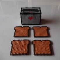 Toast Set of Coasters and Toaster Stand perler beads from FramedBits on Storenvy. Hamma Beads 3d, Peler Beads, Fuse Beads, Diy Perler Beads, Perler Bead Art, Pearler Bead Patterns, Perler Patterns, Hama Beads Coasters, Hama Beads Design