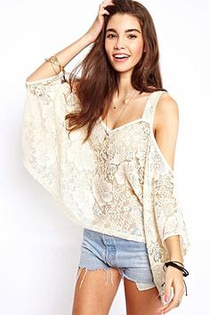 Love Lace! Love the Cut Out Shoulders! Off-Shoulder Half Sleeves Lace Loose Casual T-shirt #Sexy #Lace #Cold_Shoulder #Summer #Fashion