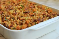 Easy Sausage & Herb Stuffing - Once Upon a Chef - - A longtime family favorite for the holidays, this easy sausage and herb stuffing uses store-bought stuffing cubes, eliminating the step of slicing and drying out the bread. Easy Sausage Recipes, Stuffing Recipes, Chicken Recipes, Jimmy Dean Sausage Stuffing Recipe, Slow Cooker Recipes, Cooking Recipes, Sage Sausage, Sweet Italian Sausage, Low Sodium Chicken Broth