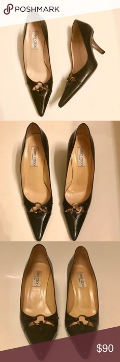 Jimmy Choo Pumps Size 9 1/2 Authentic Jimmy Choo Black Pumps.  These shoes have been loved and still have lots of life left.  Outside & inside of shoes are in great condition; the soles of shoes are only signs of wear. Jimmy Choo Shoes Heels