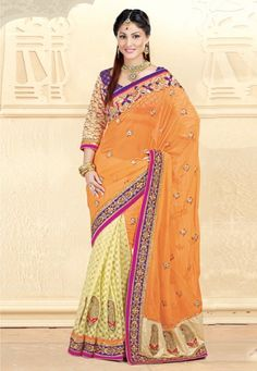 Orange And Green Georgette And Net And Brasso Saree With Blouse
