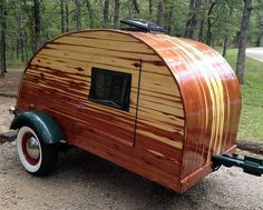 Laminated Cedar Teardrop Trailer Modeled After Vintage Ones (pinned by haw-creek.com)