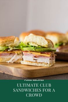 Ultimate Club Sandwiches for Crowd. These Ultimate Club Sandwiches for a crowd c… Ultimate Club Sandwiches for Crowd. These Ultimate Club Sandwiches for a crowd come together quickly and everyone loves them especially with avocado and bacon! Hawaiian Roll Sandwiches, Rolled Sandwiches, Slider Sandwiches, Appetizer Sandwiches, Sandwiches For Lunch, Turkey Sandwiches, Delicious Sandwiches, Sandwich Recipes, Pork Recipes
