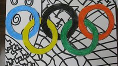 Olympic rings in crayon