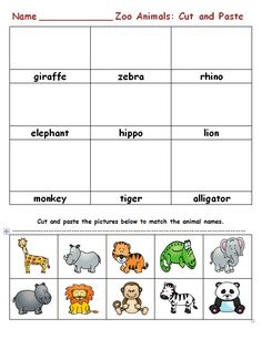 Zoo animals cut and paste on Zoo Pinterest Board at www.creativecurriculumconnections