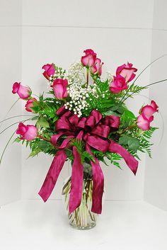 Cynthia's dozen standard rose arrangement
