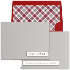 This handsome high end personal stationery from Luscious Verde Cards includes one of our many customized liners, this one shown in plaid. Wedding Invitation Design, Wedding Stationery, Personalized Stationery, Handsome, Plaid, Cards, Gingham, Wedding Invitation, Maps