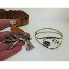 @kathrynriechert New pieces #kathrynriechertjewelry #jewelry #handmadejewelry #etsymetal #riojeweler #savannahjewelry #instasmithy #bird #repurposed #enamel
