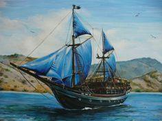 Рисунок корабля на бумаге акриловыми красками и акварелью. Художник Марина Казакова.
