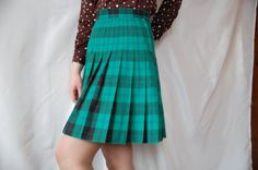 Vintage check chequers green pleated retro skirt by semivint
