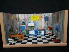 Geldgeschenk für die neue Küche...Playmobil Küche...in den Schränken wurde das Geld versteckt. An den Wänden und auf dem Fußboden wurde Klebefolie benutzt.
