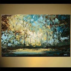 Original abstract art paintings by Osnat - palette knife landscape painting