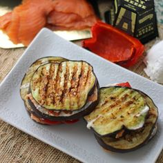 Grilled eggplant pairs wonderfully with smoked salmon, roasted red bell pepper & goat cheese Who says a grilled cheesehasto be on bread? I honestly think it just has to be a cooked sandwich l…
