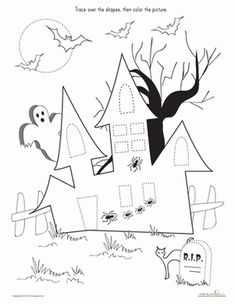 Halloween Preschool Fine Motor Skills Shapes Worksheets: Trace & Color the Haunted House