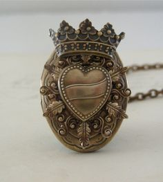 Locket Necklace - Vintage Brass Locket Heart and Crown - Handmade- Necklace - Queen of Hearts