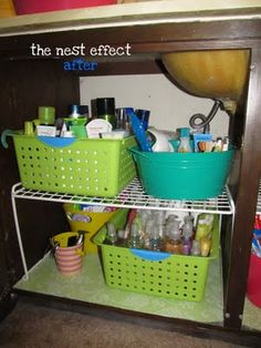 How-to for organizing under the bathroom sink.