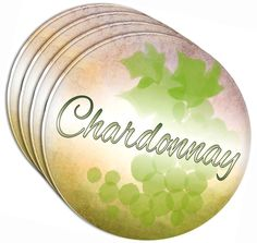 """Amazon.com: Custom & Cool {4"""" Inches} Set Pack of 4 Round Circle """"Flat & Smooth Texture"""" Drink Cup Coasters Made of Acrylic w/ Wine Lover Chardonnay Green Grape Vino Design [Colorful Green, Tan & Purple]: Home & Kitchen"""