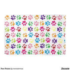 Paw Prints Hand Towels #Paw #Print #Animal #Pet #Dog #Cat #Kitchen #Towel