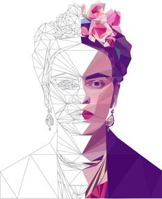 Stunning low poly portraits recreate famous artists with hundreds of triangles Art And Illustration, Portrait Illustration, Digital Portrait, Portrait Art, Artwork Fantasy, Art Couple, Fantasy Magic, Frida Art, Art Watercolor