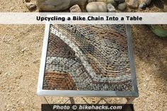 Upcycling a Bike Chain Into a Table- I would never be able to do this but love the pattern it makes.