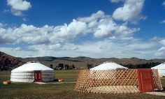 Mongolia...those are called yurts and I shared one with 7 women...its basically a huge bed inside...very colorful might I add