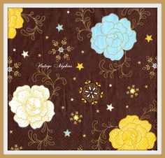 TWO Paper napkins for DECOUPAGE - White Blue Yellow Flowers on Brown Pattern  #131 by VintageNapkins on Etsy