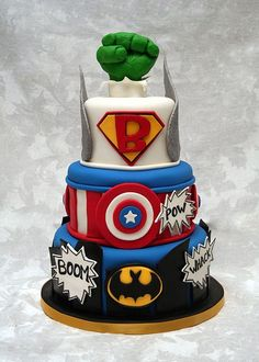 Superhero cake for Everetts bday! Pretty Cakes, Cute Cakes, Beautiful Cakes, Amazing Cakes, Marvel Cake, Marvel Dc, Dessert Original, Superhero Cake, Cakes For Boys