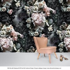 This wallpaper blows my mind. wallpapers for backdrops Still Life with Shadows Gray Wallpaper - Floral Wallpaper - by Ellie Cashman Design