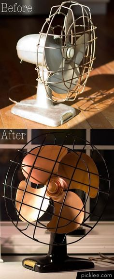 Use spray paint to update a vintage find. Maybe spray paint Jason's old fan in a copper color? Old Furniture, Refurbished Furniture, Repurposed Furniture, Furniture Makeover, Painted Furniture, Desk Makeover, Furniture Ideas, Dresser Makeovers, Retro Furniture