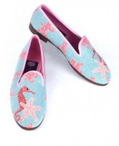 Seahorse and Starfish Needlepoint Loafer: This pattern is one of my favorites! The Seahorse and Starfish are stitched in petitpoint allowing for great detail. The fresh aqua background is accented with pink coral and the leather trim is light pink. Shoe Art, Best Sneakers, Girls Wear, Loafers For Women, Custom Shoes, Pink Leather, Womens Flats, My Style, Boots