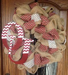 University of Oklahoma OU Sooners Tan Burlap Wreath with Crimson and White Chevron Burlap