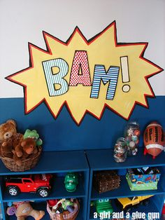 cute for boy superhero room  @ao Moore  Here's another one I had come across