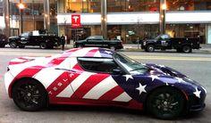 Sportive car wrap stars and stripes   Tesla roadster USA