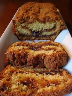 Cinnamon Coffee Cake Bread - Its absolutely delicious. My family polished off half of it within 10 mins. I added sliced apples to the batter and they are a beautiful complement to the cinnamon