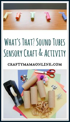 Make sound tubes with different sounds to explore in this sensory craft activity for kids. Senses Activities, Craft Activities For Kids, Toddler Activities, Learning Activities, Crafts For Kids, Zoo Crafts, Nursery Activities, Toddler Crafts, Play Based Learning