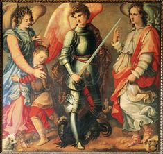 29 Sept - Feast Day - St Raphael, St Gabriel and St Michael the Archangels! A Yearbook of Saints Michael Gabriel, St Michael, San Gabriel, Catholic News, Catholic Saints, Catholic Prayers, Roman Catholic, Catholic Archangels, 7 Archangels