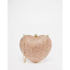 Love Moschino Satin Embellished Heart Bag (€155) ❤ liked on Polyvore featuring bags, handbags, gold, love moschino bags, love moschino, embellished purses, heart shaped handbag and satin bags