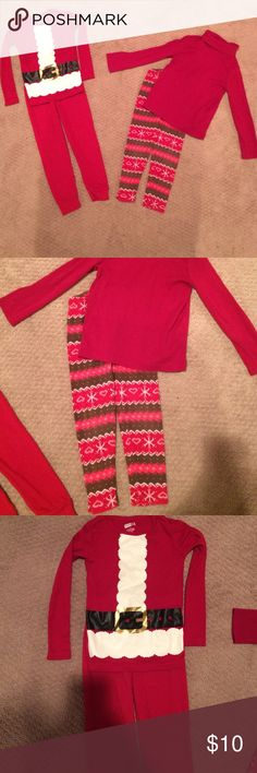 Girls size 4 holiday/winter bundle ❄️ Crazy 8 holiday pjs and Gymboree red turtleneck with Gymboree leggings smoke free pet free home Gymboree Matching Sets