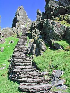 Skellig Michael -- Co. Kerry, Ireland -- Located in the Atlantic Ocean some 12 km southwest of Valentia Island. From any angle, they are spectacular pinnacles, which have magnetised viewers throughout all history. Skellig Michael is known throughout the world of archaeology as the site of a well-preserved monastic outpost of the Early Christian period.