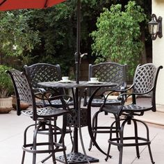 Darlee Nassau 4-person Cast Aluminum Patio Bar Set With Umbrella - Antique Bronze by Darlee. $2049.00. Lightweight aluminum frame makes rearranging your furniture easy. Set Includes: Bar Table, 4 Bar Stools, Tilting Umbrella, Brown Polyester Cushions. Antique bronze powder coating is tougher than conventional paint finishes. Cast aluminum construction promotes rust resistance. Relax more comfortably with polyester seat cushions. Darlee Nassau 4-Person Cast Aluminum Patio...