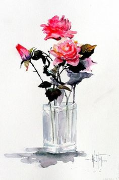 Vase of Roses by Philip Hilton - Original watercolor painting - 152.00