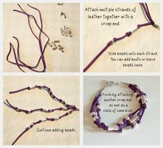 How to make several different easy diy leather wrap bracelets. Leather Jewelry, Beaded Jewelry, Leather Cord, How To Make Leather, Bracelet Display, Bracelet Tutorial, Diy Bracelet, Beads And Wire, Handcrafted Jewelry