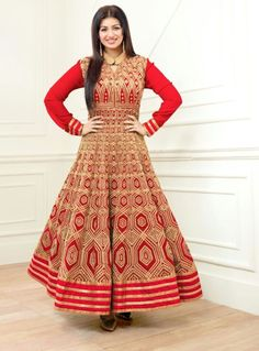 You will be the center of attention in this attire. All of this accenting the feminine beauty, with this red faux georgette Ayesha Takia anarkali salwar kameez. This ravishing attire is amazingly embr. Indian Anarkali, Long Anarkali, Anarkali Suits, Punjabi Suits, Bollywood Dress, Bollywood Fashion, Modest Dresses, Nice Dresses, Designer Suits Online
