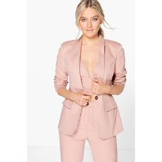 Boohoo Boutique Boutique Sofia Tailored Button Woven Blazer ($52) ❤ liked on Polyvore featuring outerwear, jackets, blazers, rose, bomber jacket, blazer jacket, pink puffer jacket, pink duster coat and button jacket